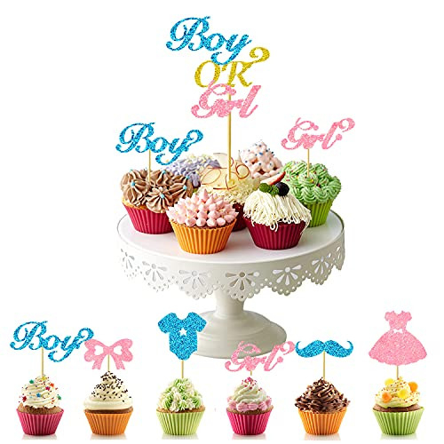 25 Pieces Boy or Girl Cupcake Toppers Gender Reveal Cake
