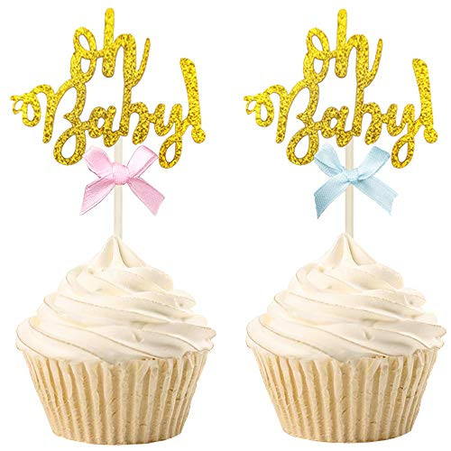 30 PCS Gold Glitter Oh Baby Cupcake Toppers Gender Reveal