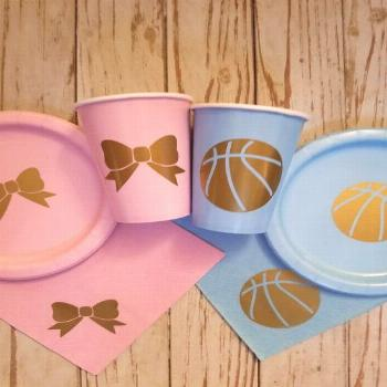 Free Throws Or Pink Bows Gender Reveal Cake ` Free Throws Or Pink Bows Gender Reveal