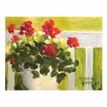 Front Porch Geraniums Postcard ,