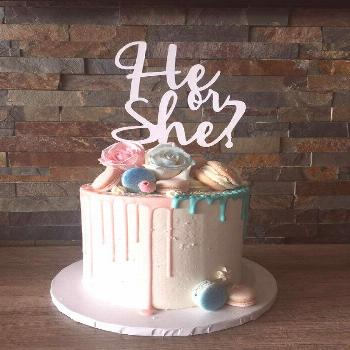 Gender Neutral cake topper, He or She? - misspapercut. ❤❤Product Details❤❤ Welcome your Gen