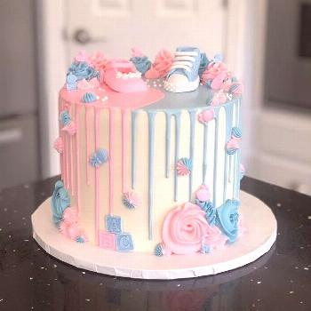 Gender Reveal Ideas For Party Cakes, Cupcakes, Candies & Stands Inspirations Gender reveal cake and