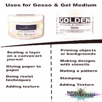 Uses for gesso and gel medium tutorial. Check out this blog! Super helpful visuals of ways to use g