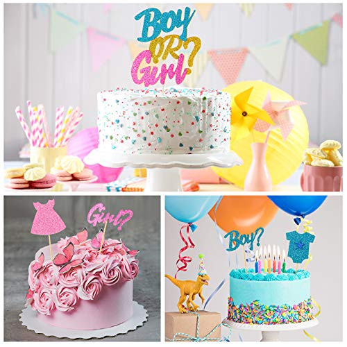 49 Pieces Boy or Girl Cupcake Toppers Gender Reveal Cake