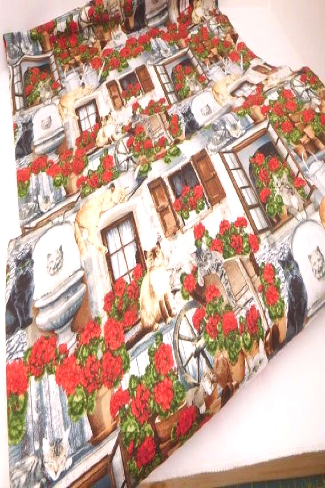 761 Front Porch Cats Fabric; Geraniums in Clay Pots; Cats and Geraniums; Cat Fab...#cat