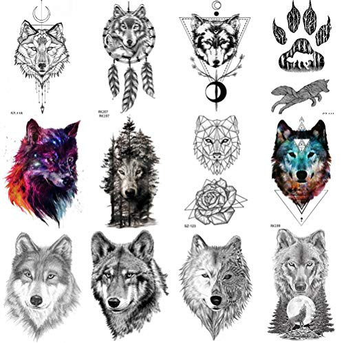 COKTAK 12Pieces/Lot Forest Realistic Wolf Temporary Tattoos