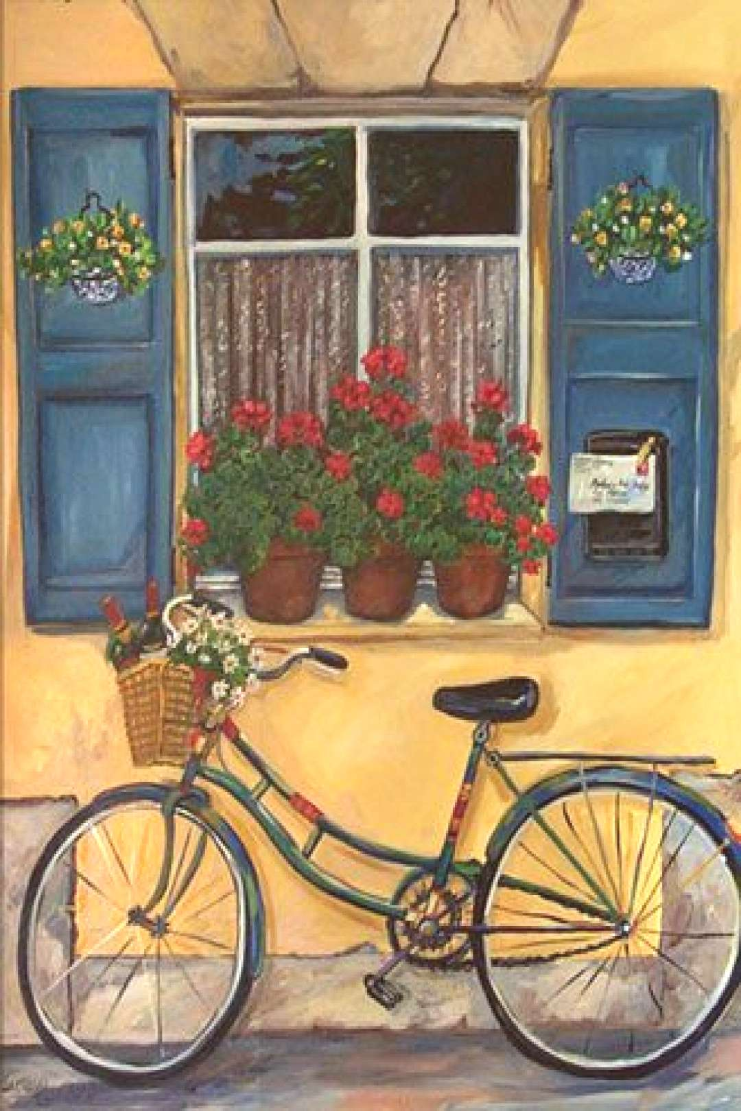 Cottage window with a bicycle. Very quaint and reminiscent of the old country. -  Cottage window wi