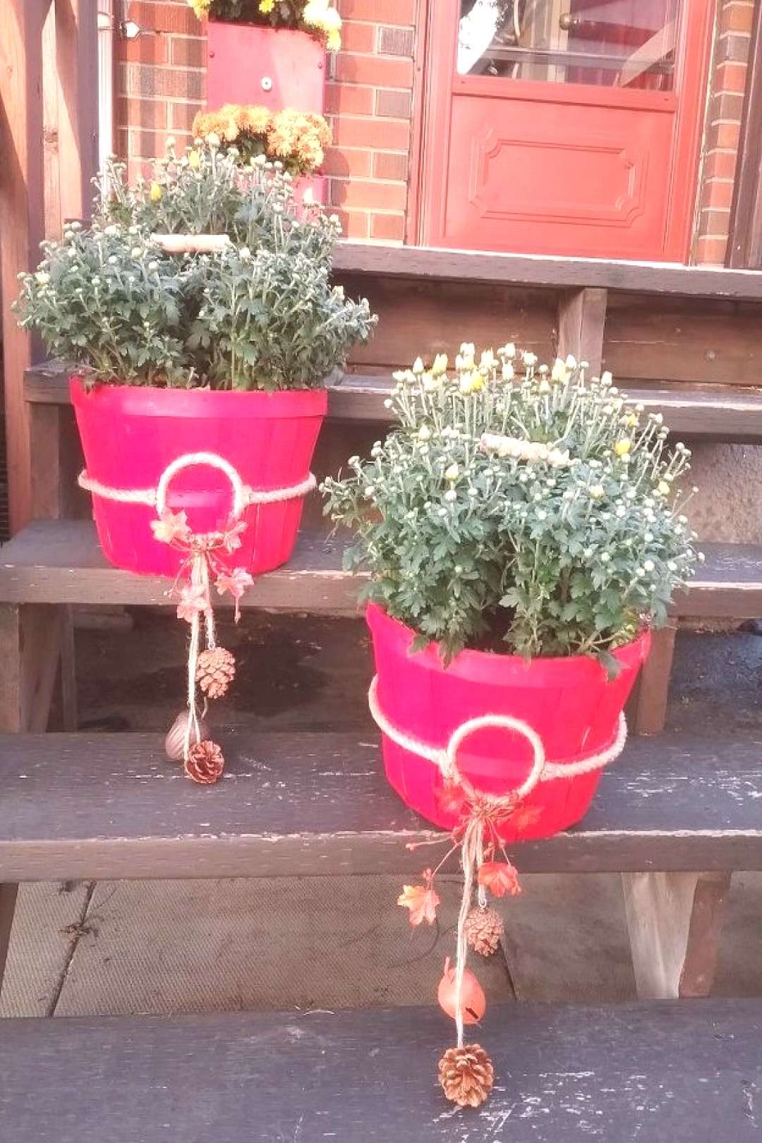 DIY Fall Planters -  Upcycle those apple baskets for the cutest planter idea!  -