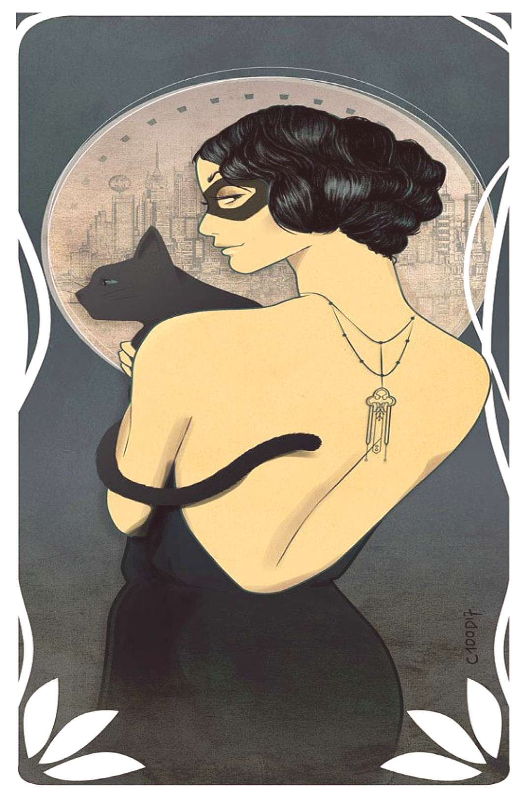 Gift Comics > Catwoman Mucha Style art nouveau to frame great decoration Geek…