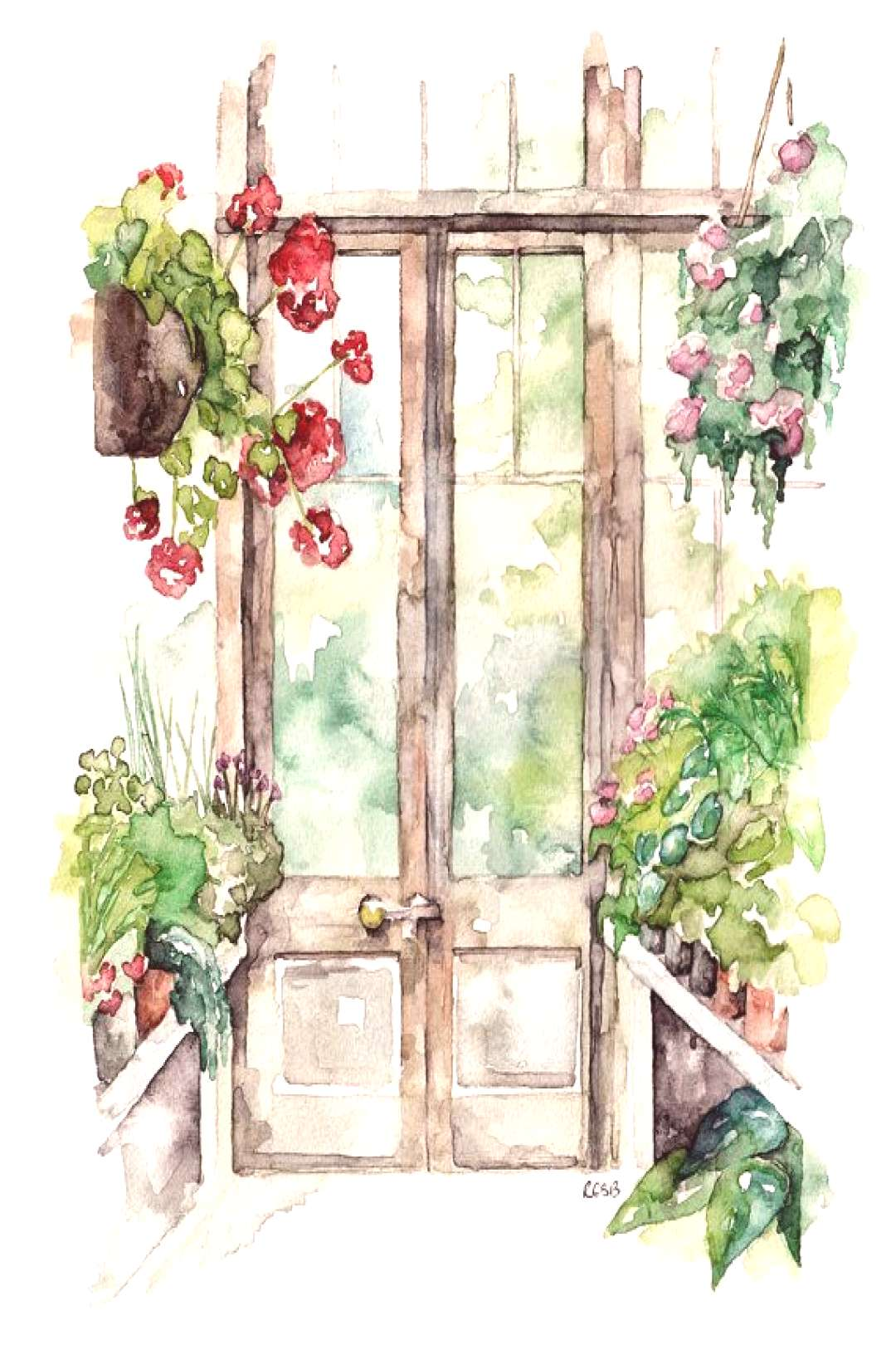 Greenhouse Painting - Print from Original Watercolor Painting,