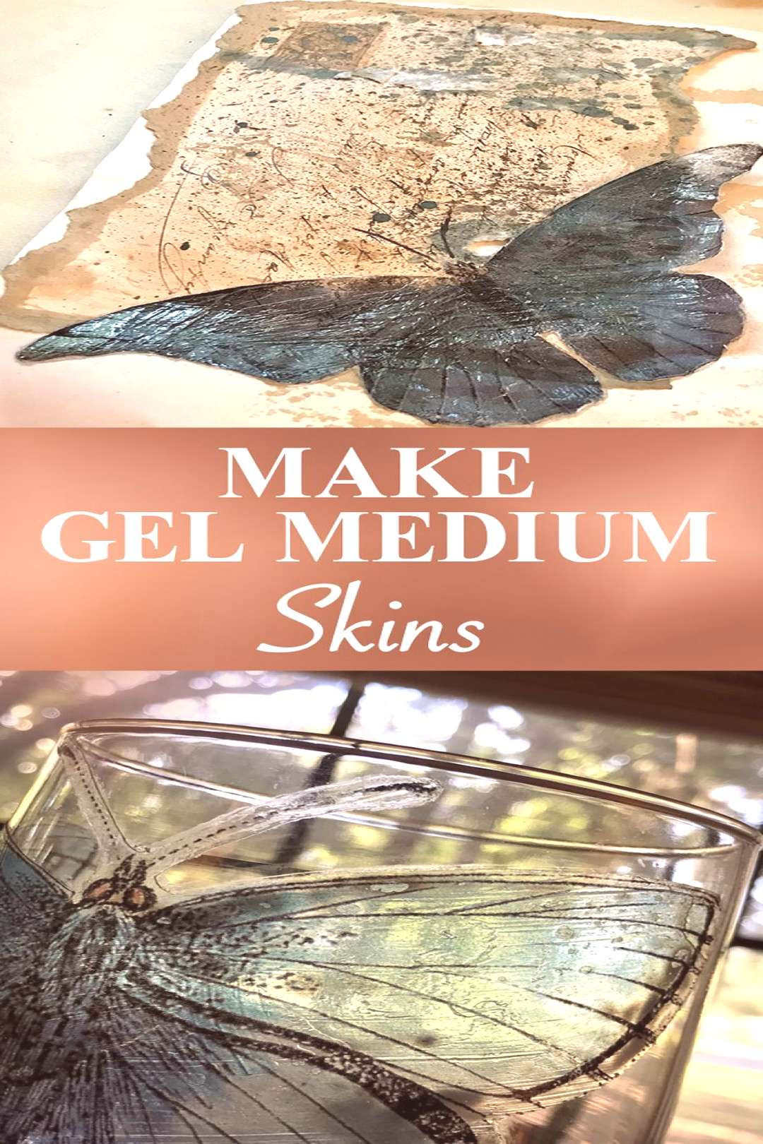 Learn a Quick & Easy Mixed Media Technique - Make Gel Medium Skins to add to junk journal pages, mi