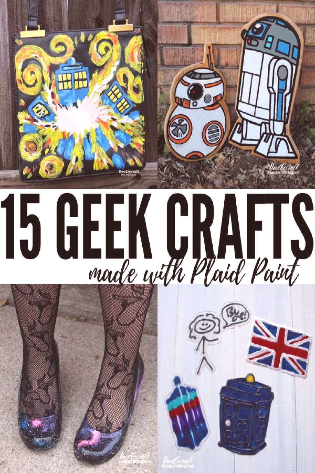 Plaid crafts giveaway with fifteen geekery inspired crafts roundup of doctor who, galaxy, star wars