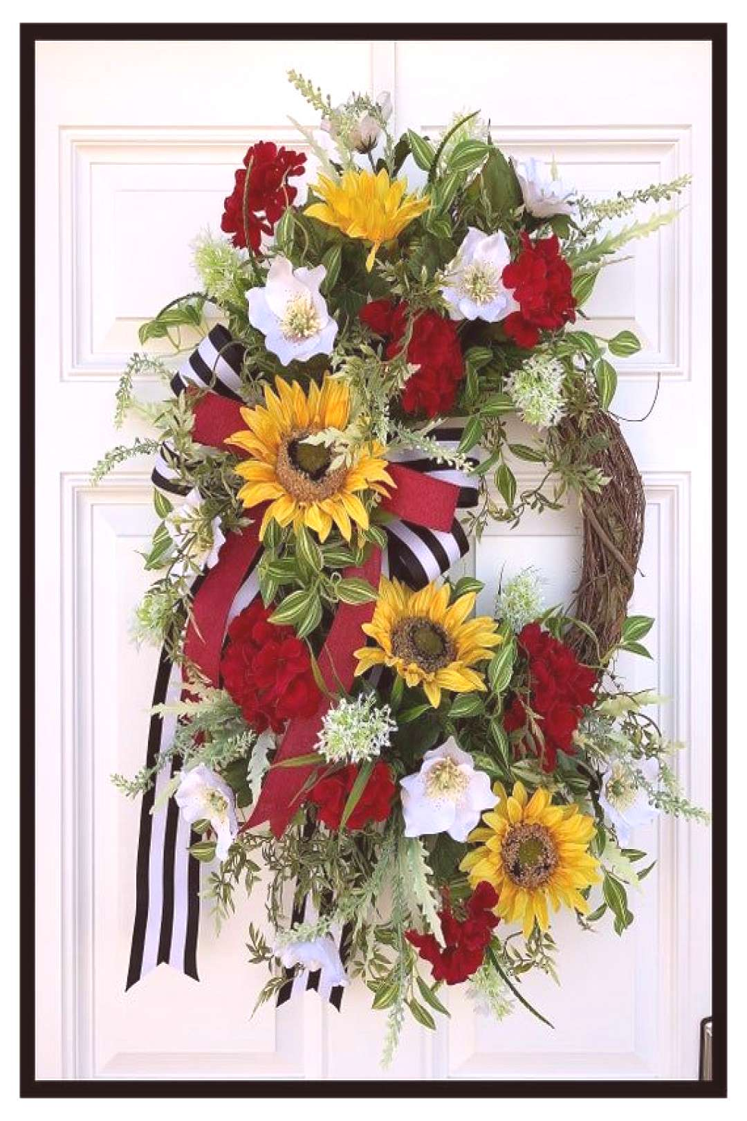 Summer Wreaths For Front Door Wreath, Yellow Sunflower Wreath, Red Geranium Wreath, Summer Door Wre