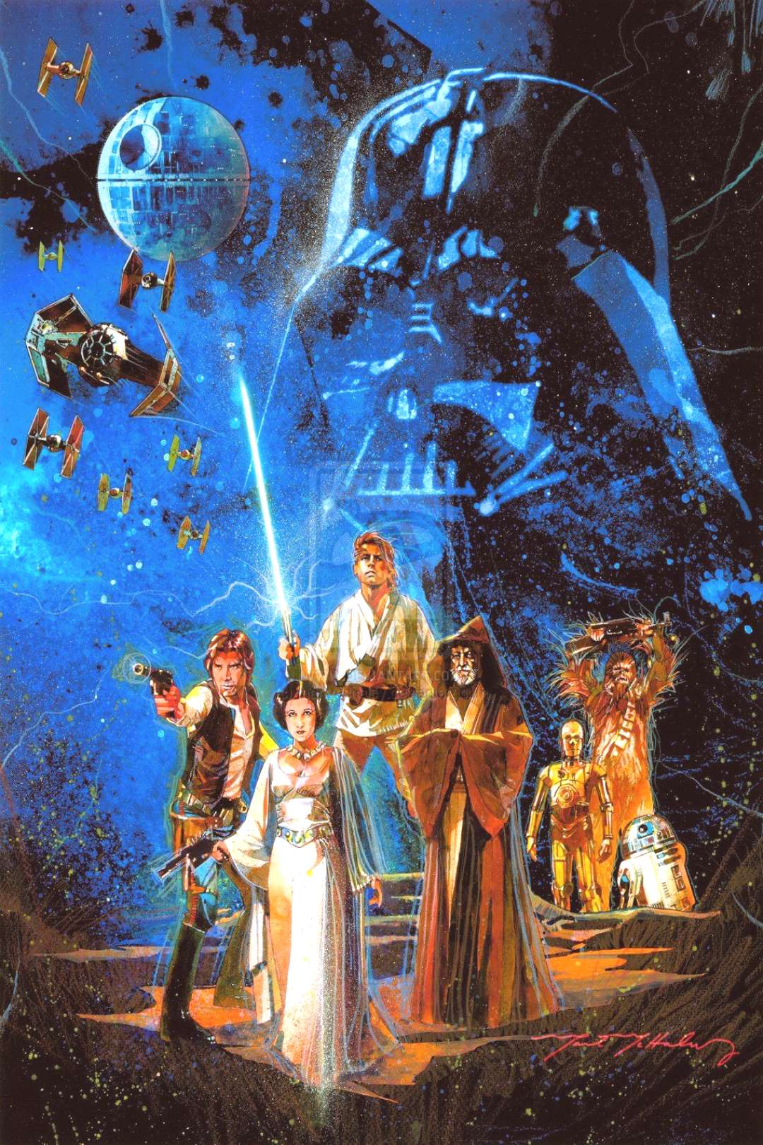 Topps commissioned illustrator Mark Mchaley to recreate the Original STAR WARS Poster, immortalized