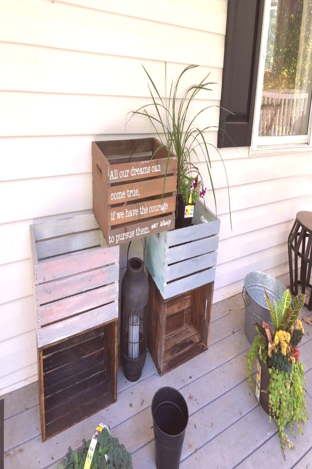 Wooden Crates as Fall Planters - Front Door / Porch Refresh -  Wooden Crates as Fall Planters – F
