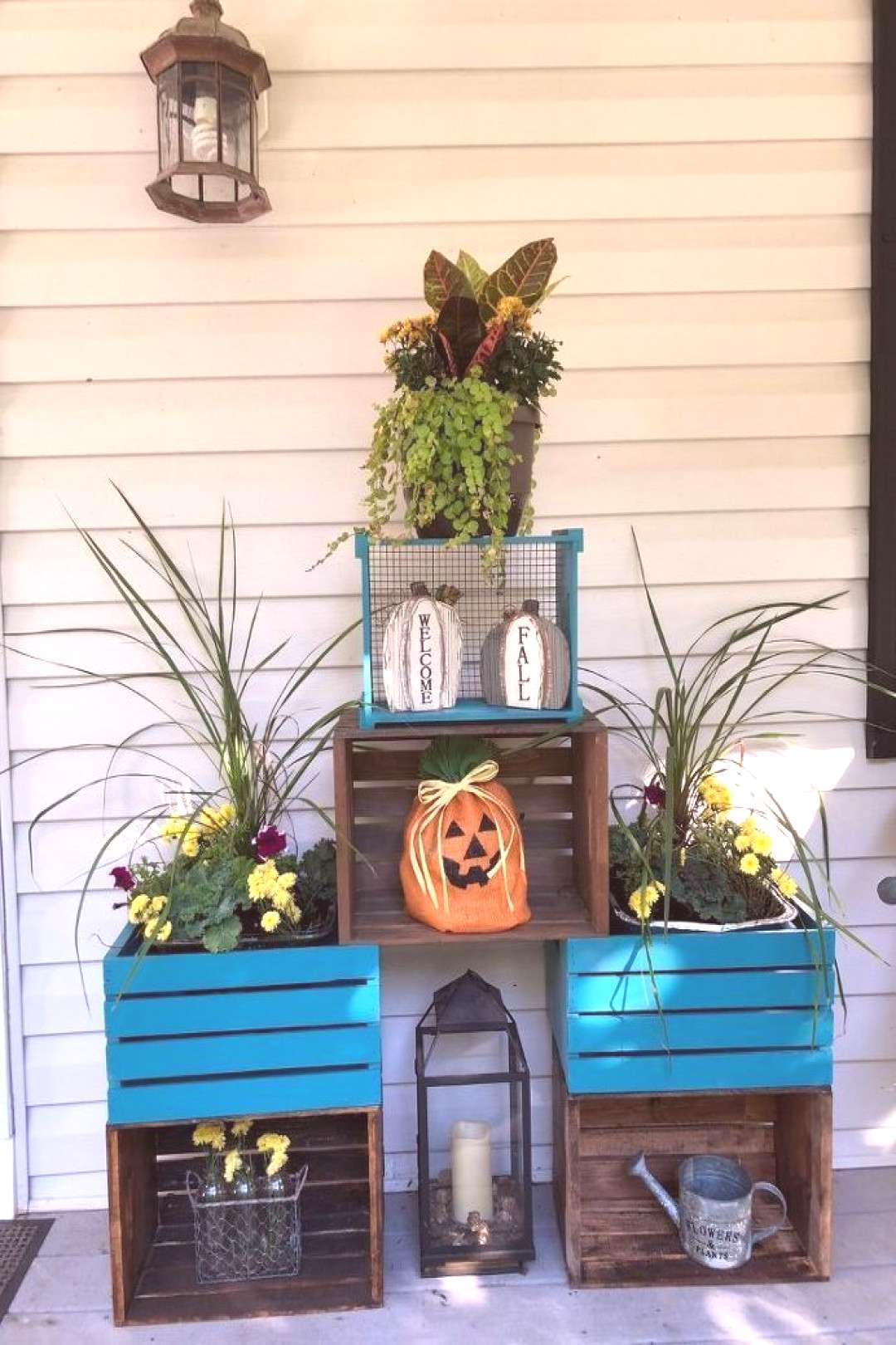 Wooden Crates as Fall Planters - Front Door / Porch Refresh -  wooden crates as fall planters front